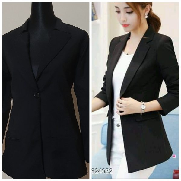 China Stitch - Ladies Blazer - Black