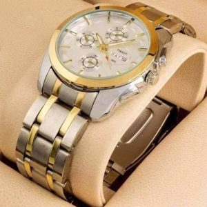 Men's Golden And Silver Stainless Steel Quartz Wrist Watch