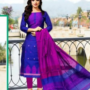 Readymade Block Print Stitched One Piece Blue-Magenta