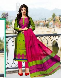 Readymade Block Print Stitched One Piece Green-Red