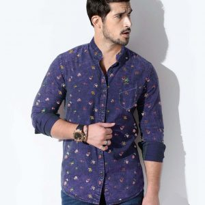 Men's Ash Navy With Multi Design Full Sleeve Shirt
