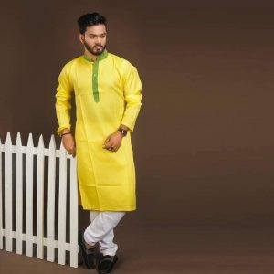 Cotton Punjabi (Yellow and Green)