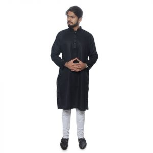 Black Premium Cotton Panjabi - IL001