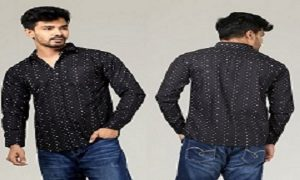 DUDE-STYLE-Mens-Trendy-Cotton-Casual-Style-Shirt-DCS-07-Black-with-White-Dot-Design-x