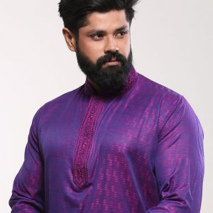 Men's Cotton Punjabi - Deep Purple Embroidery